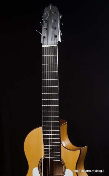 8 string Flamenco Blanca guitar, Ebony Fingerboard with 22 frets. Wide of the guitar neck at nut 61 mm., at 12th fret 75 mm.jpg