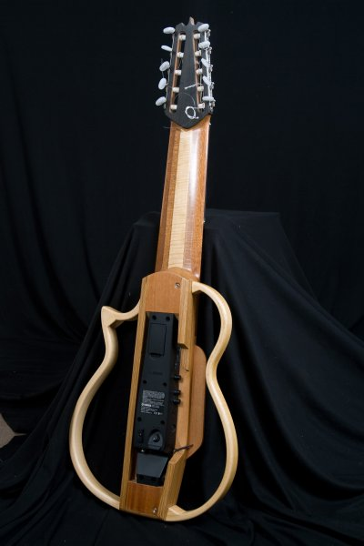 Ten String Silent guitar, amplificated with Yamaha preamp and custom made transductor under the bridge saddle.JPG